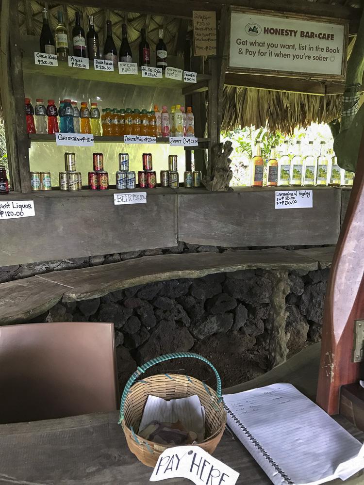 The honesty bar at the Bangkok Kuhay Valley nature resort