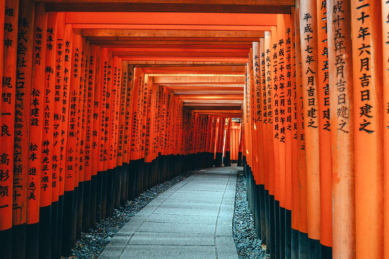 One of the walkways through torii gates at the Fushimi Inari shrine. Image:     Pexels
