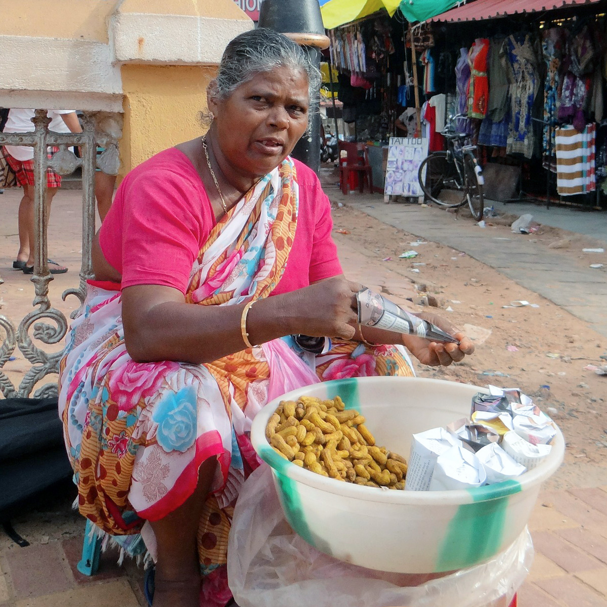 A peanut seller at Calangute Beach, Goa, India.   Image:     Bishnu Sarangi
