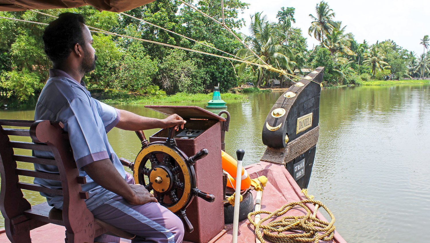 A houseboat on the Kerala backwaters.   Image:   © Alan Williams