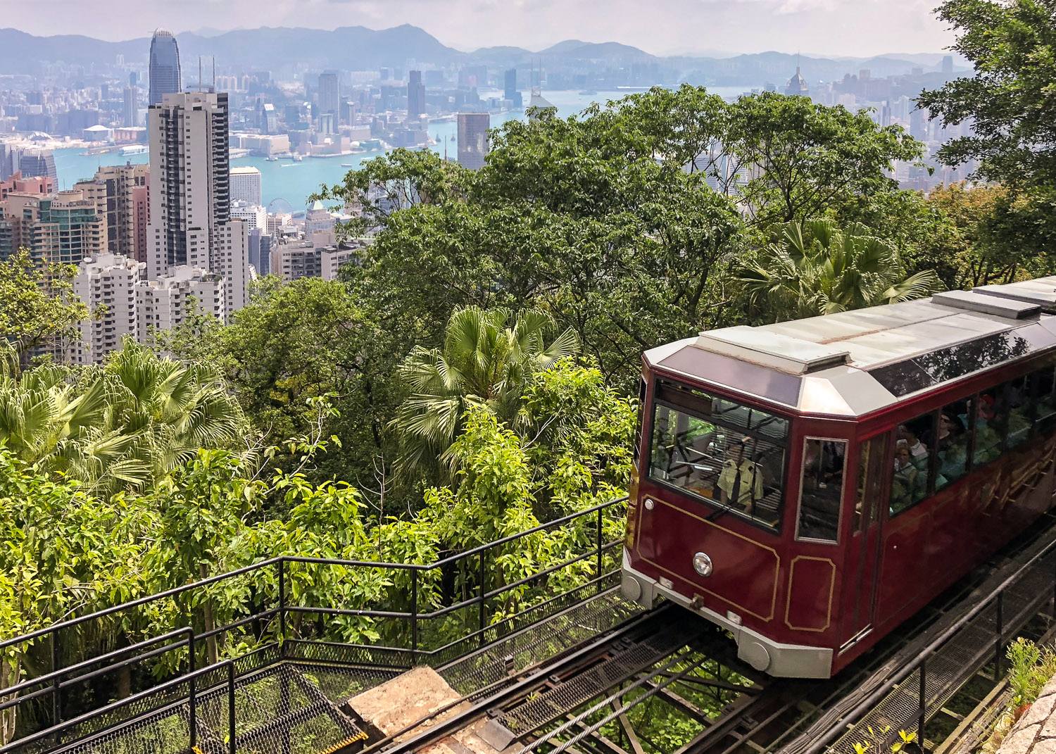 The Peak Tram climbing to Victoria Peak. Image:  © Nannette Holliday