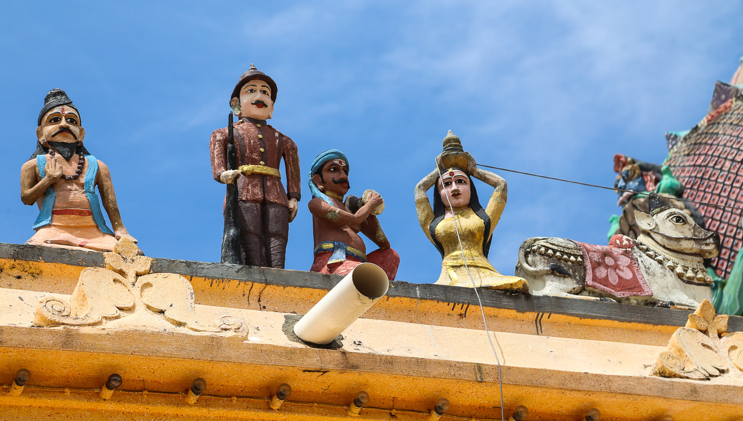 Figures on the roof of Kellie's Hindu temple.   Image:  © Alan Williams