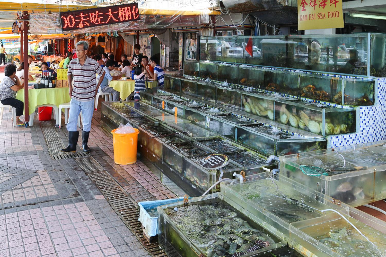Fresh seafood for sale at Sai Kung's Seafood Street. Image:    © Alan Williams