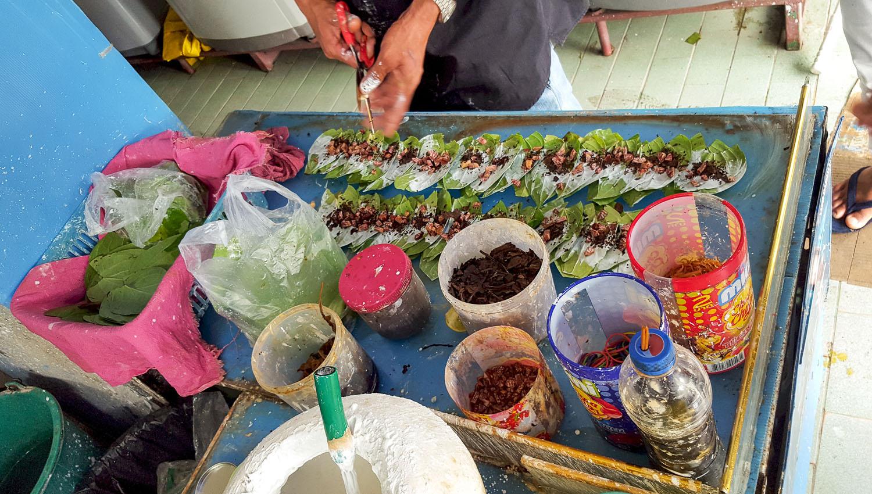 Betel quids being prepared in Thailand. Image:     Dominic Milton Trott