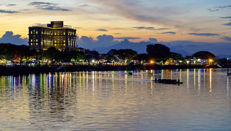 The Kuching waterfront after sunset. Image:   morariu