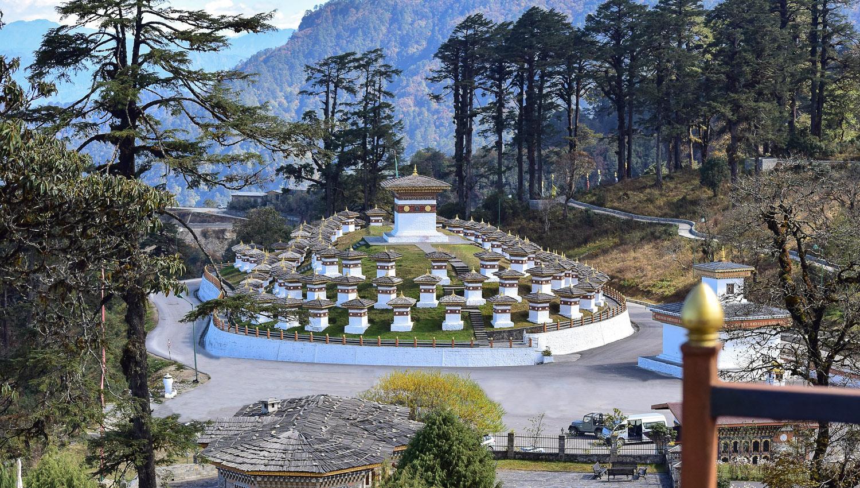 The memorial stupas at the Dochula Pass. Image:     Suket Dedhia