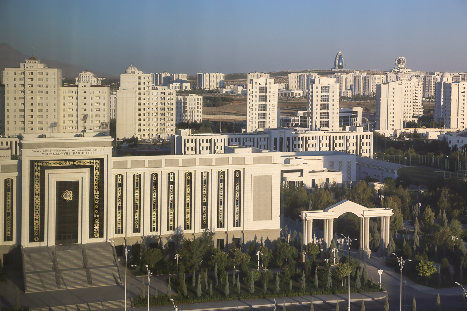 Ashgabat's white marble buildings. Image:  © Alan Williams
