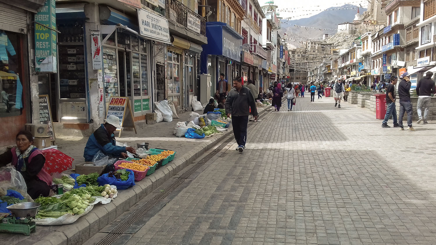 Shopping street in the Leh bazaar. Image:  © Manoj Gupta