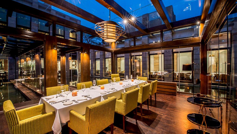Interior of New Delhi's famed Indian Accent restaurant.