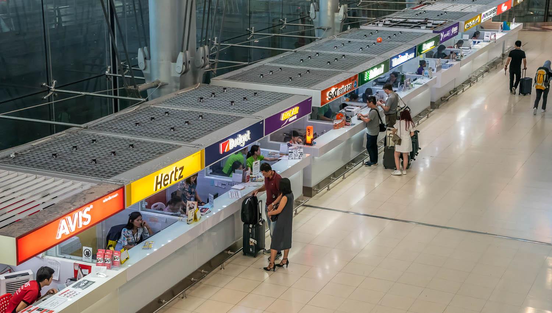 Car rental desks at Suvarnabhumi Airport, Bangkok. Image:     Sihasakprachum      Dreamstime