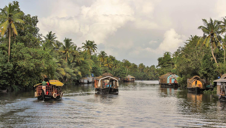 Houseboats on the Kerala backwaters. Image:     Philip Abraham