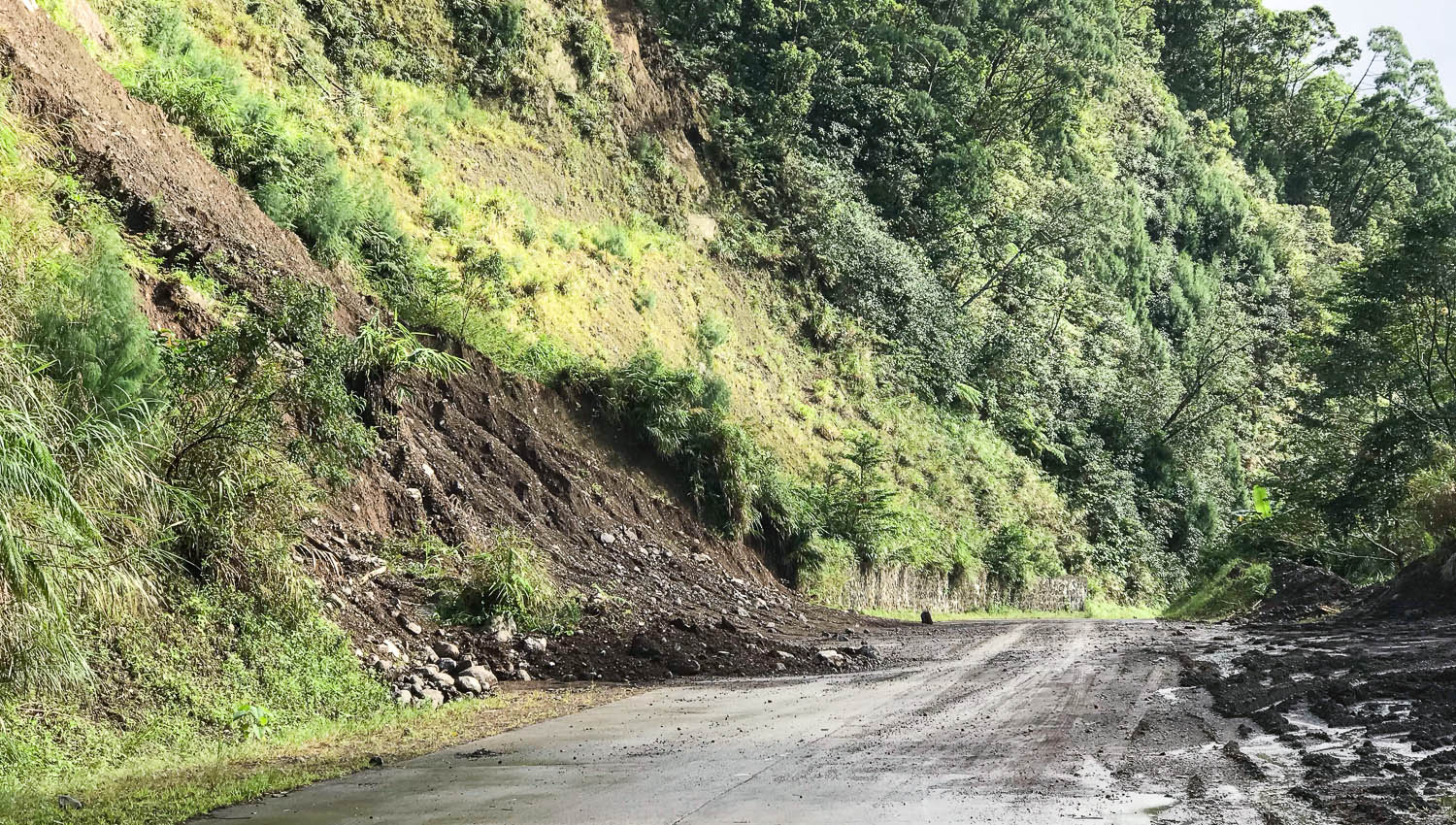 Landslides are common along all of the mountain roads. Image:  © David Astley