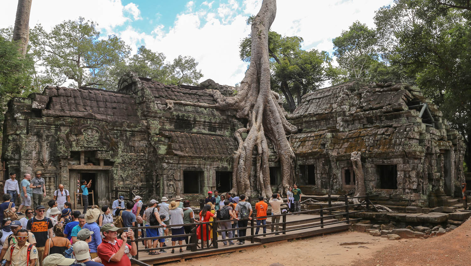 Visitors queueing to have their photo taken at Ta Prohm. Image:  © Alan Williams