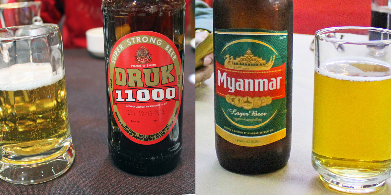 Popular beers from Bhutan and Myanmar. Images:  © Alan Williams