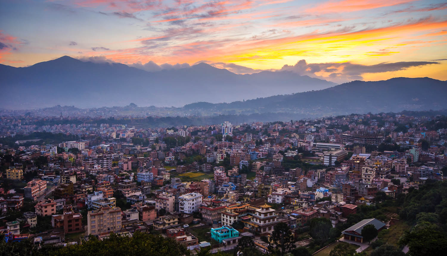 The picturesque but overpopulated Kathmandu Valley. Image:     Burachet
