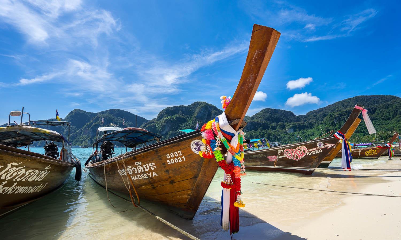 Long-tail boats on Koh Phi Phi. Image:     Frankie Spontelli
