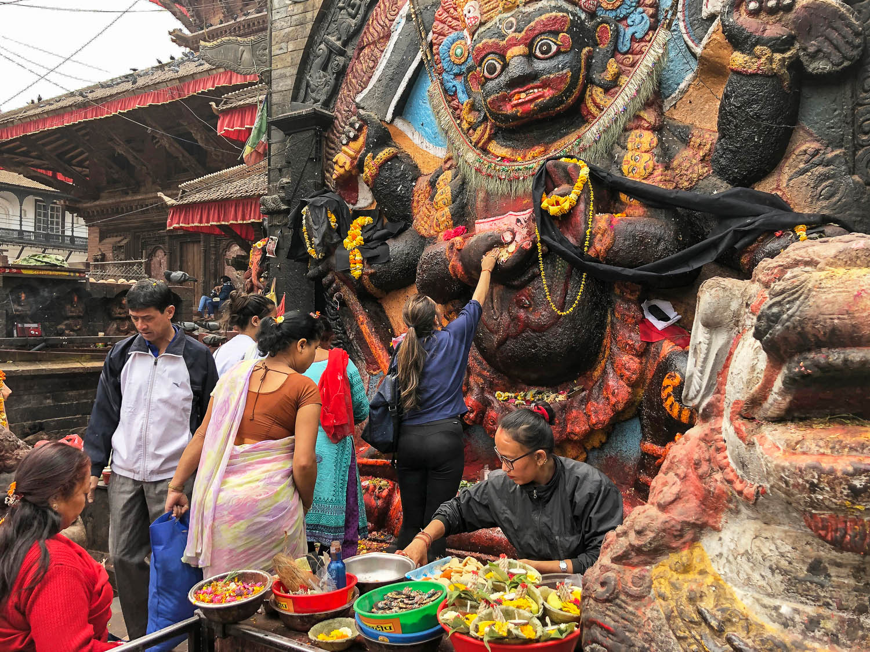 A busy shrine in Kathmandu Durbar Square. Image:  © Alan Williams