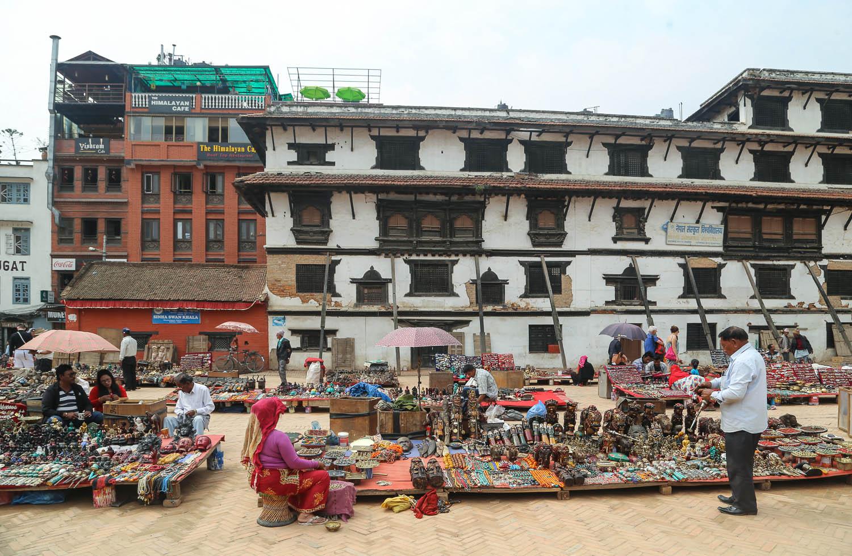 Handicraft vendors in Kathmandu Durbar Square. Image:  © Alan Williams