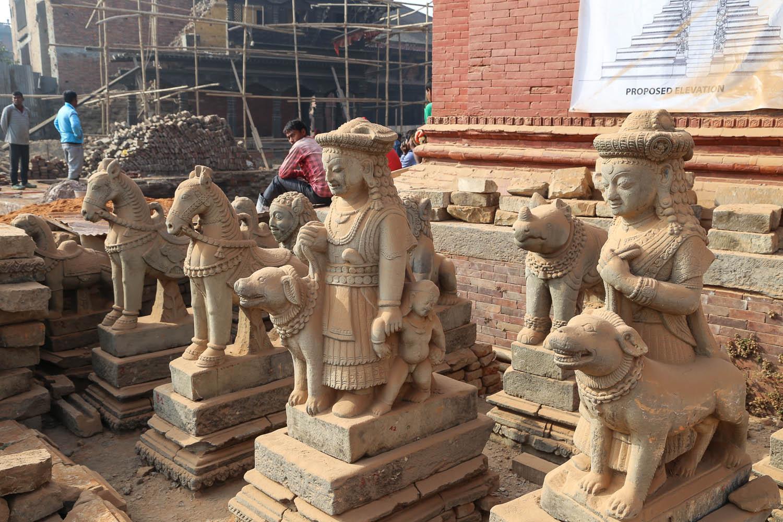 Earthquake repairs in Bhaktapur Durbar Square in 2016. Image:  © Alan Williams