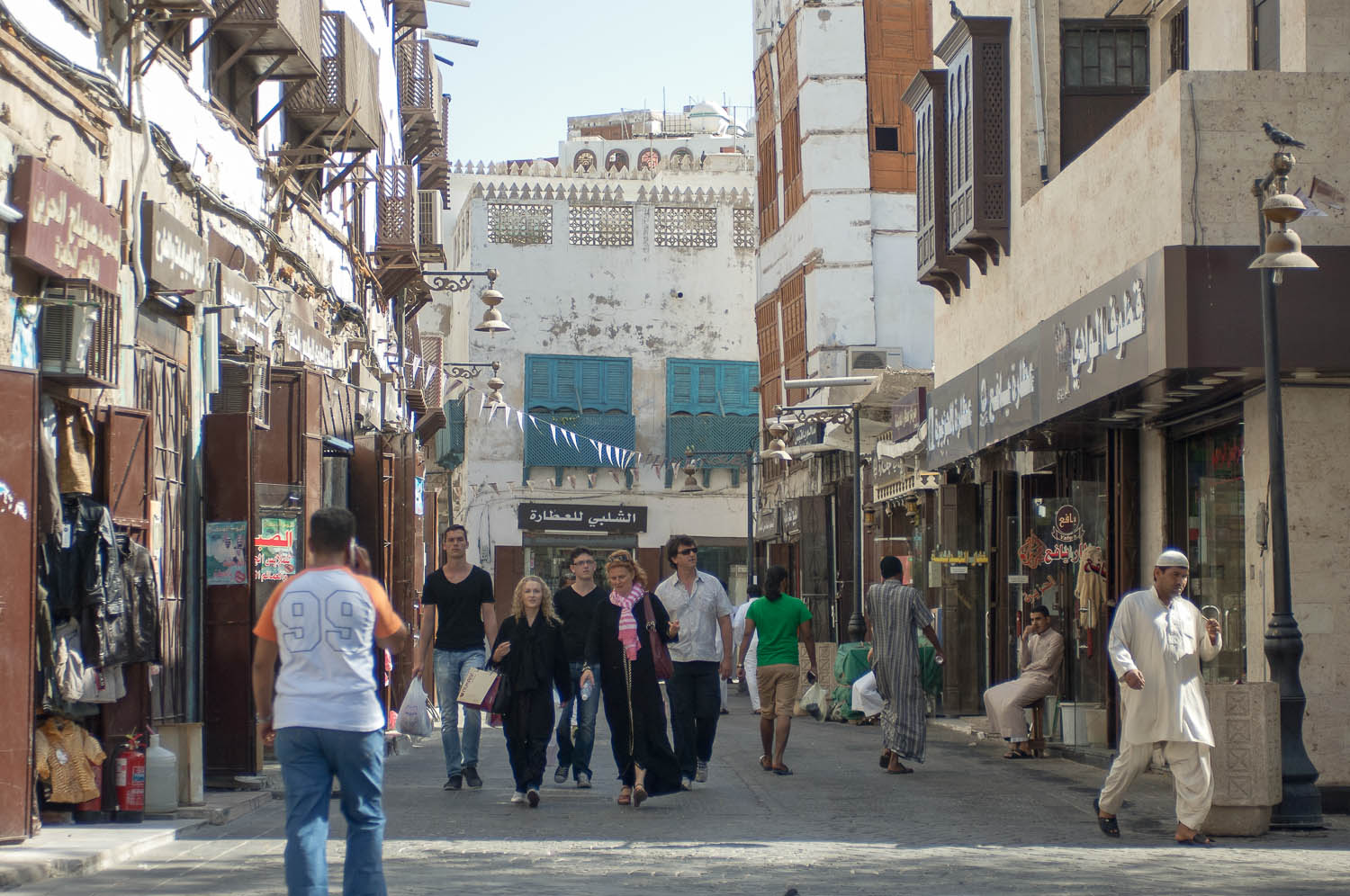 Tourists in Al-Balad, Jeddah's old downtown. Image:  Hansmusa