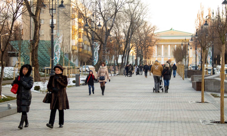Strolling one of Almaty's wide boulevards in winter. Image:  © Artur Dadamyan