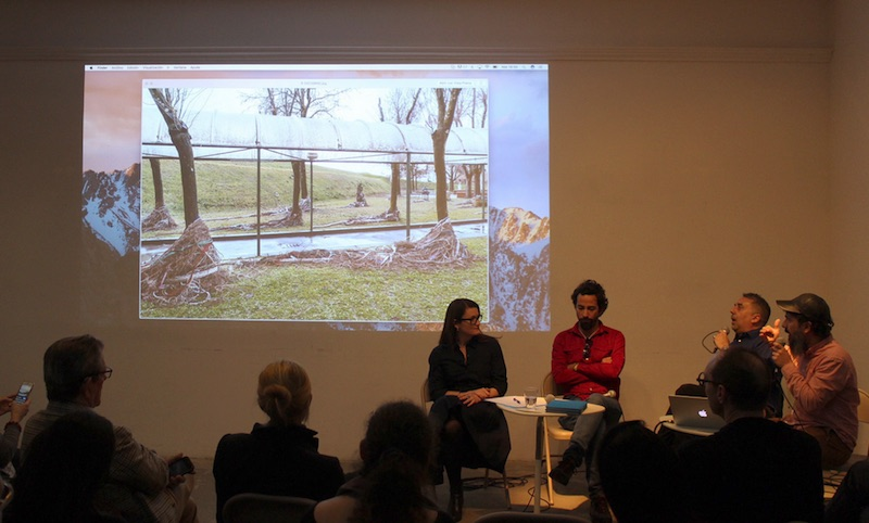 Artist conversation at RU with, from left: curator Mary Kate O'Hare, Alejandro Campins, curator Rafael DiazCasas, and José Yaque  Courtesy Residency Unlimited
