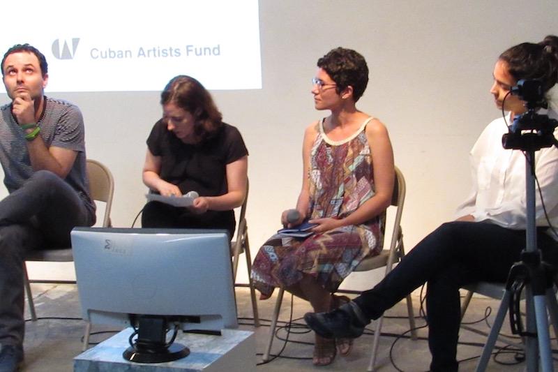 Artist conversation at RU with, from left: Jorge Wellesley, curator Meyken Barreto, curator María de Lourdes Mariño Fernández, and Elizabet Cerviño  Photo: Cuban Art News