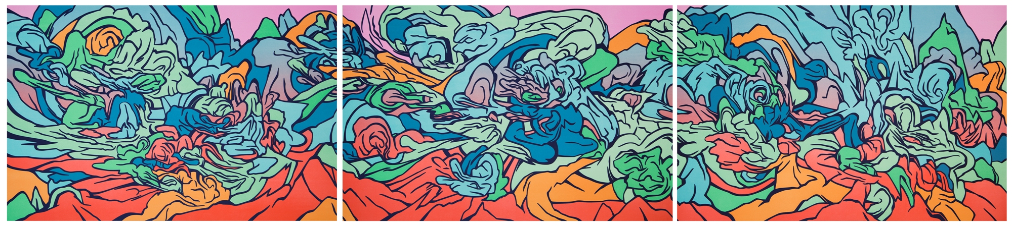 """After Genji  , 2017, Edition of 16 - Lithograph Triptych - 27 1/2"""" x 39 1/4"""" (70 cm x 100 cm) each"""