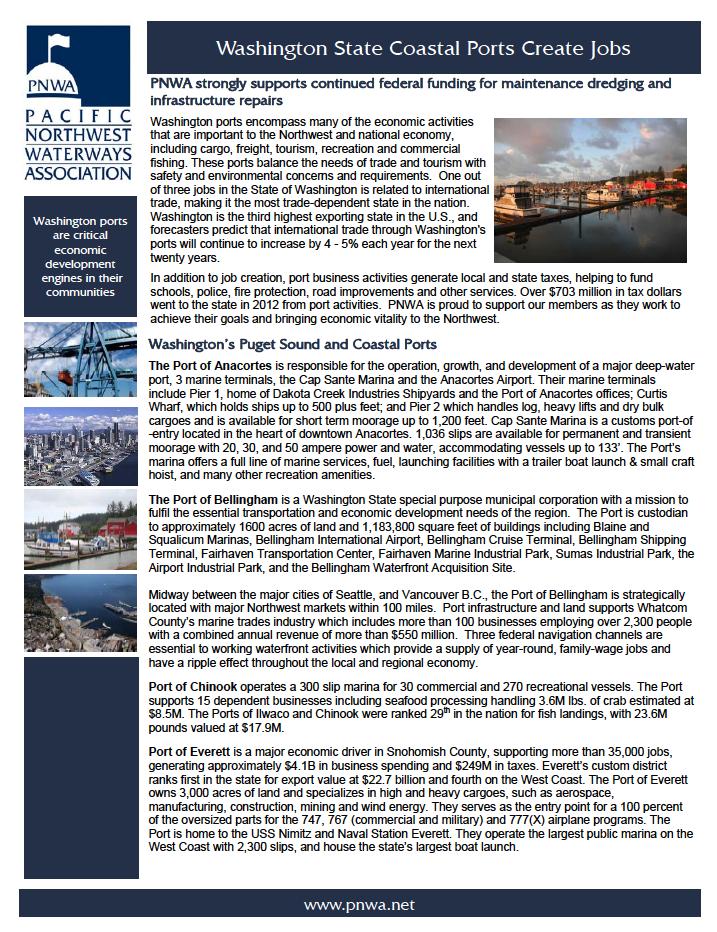 Washington State Coastal Ports Create Jobs
