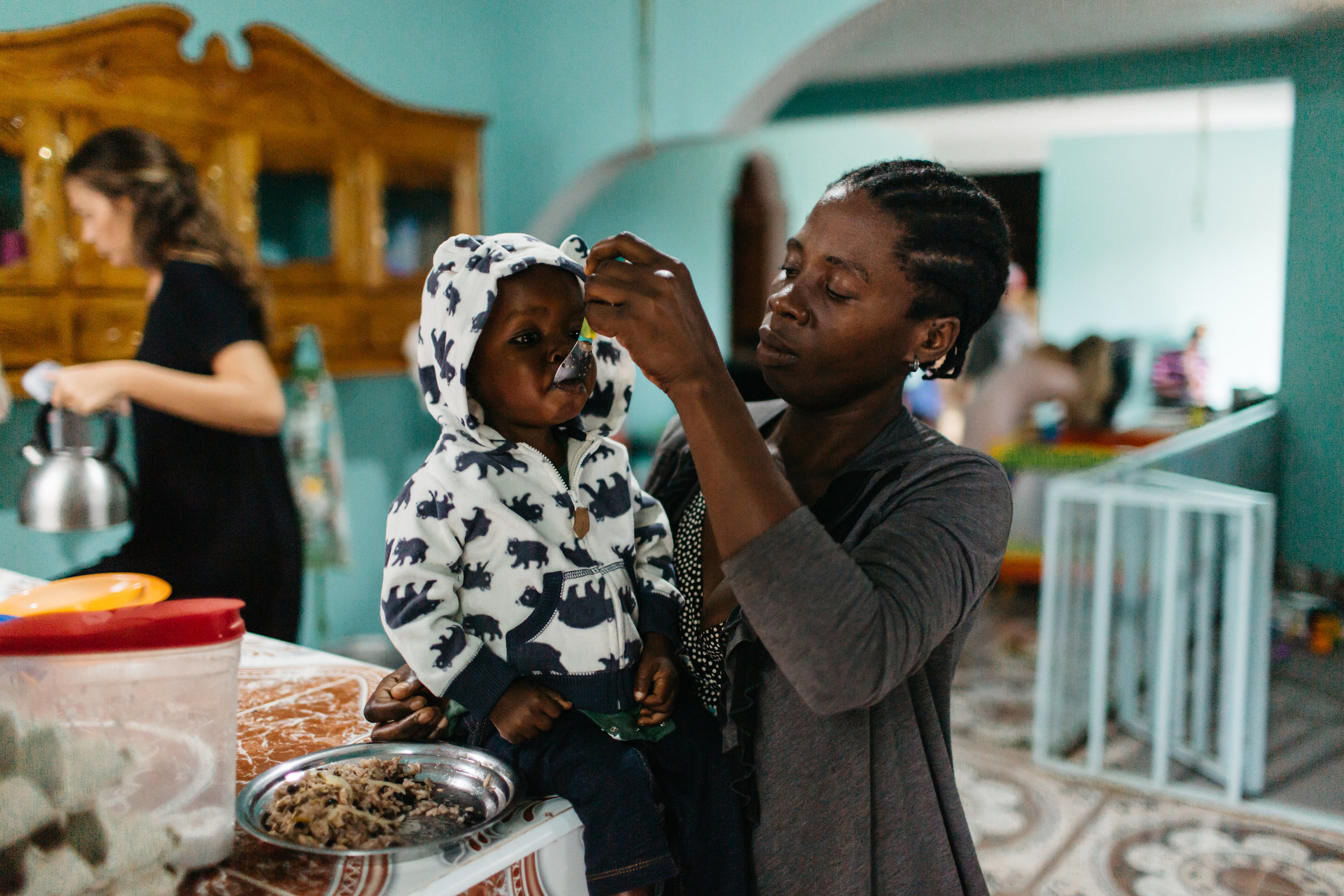 Inpatient Care - We treat severe acute malnutrition in children, using a special ready-to-use therapeutic food called Medika Mamba. Patients and their caregivers come from all over Northwest Haiti to receive treatment and education.