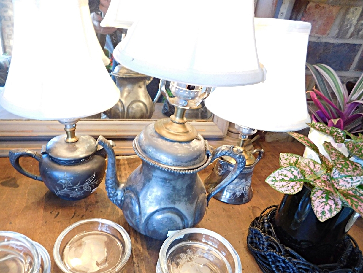 Sweet little lamps made from vintage silver creamers -