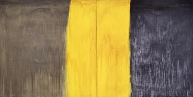 ANASTASIA PELIAS, ELAINE, FOR ELAINE (SHADE GREY, TRANSLUCENT YELLOW, PAYNE'S GREY) , 2013. OIL ON CANVAS. COURTESY THE ARTIST AND OCTAVIA ART GALLERY, NEW ORLEANS.