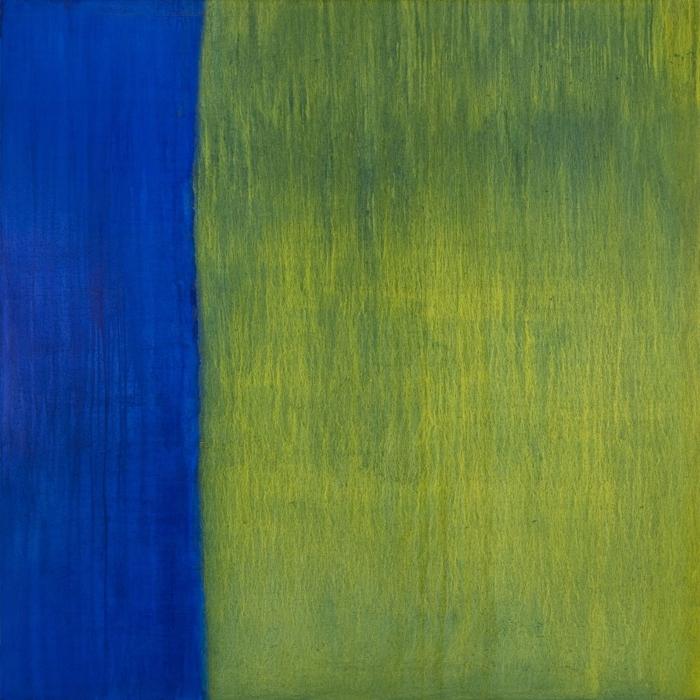 Louisiana (chrome yellow, oriental blue) ,2011,oil on canvas,72 x 72 inches