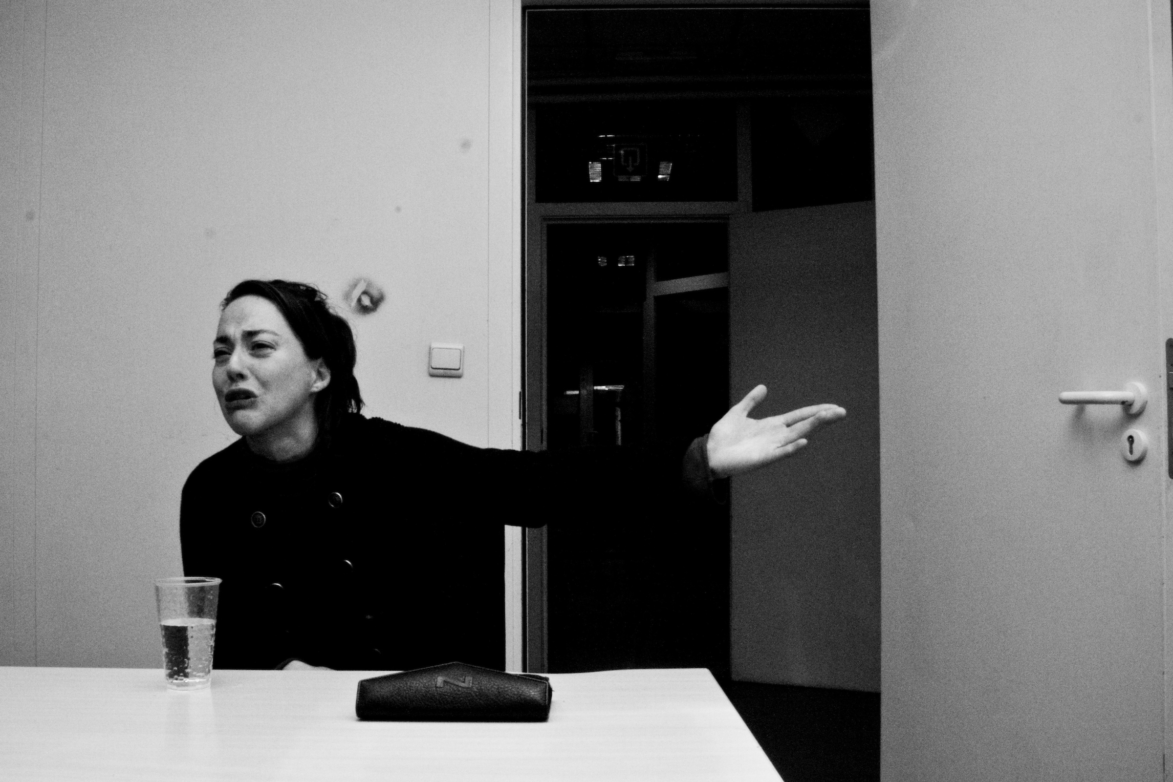 Interrogation of a young lady in the police station of Uccle. Brussels on March 2008.