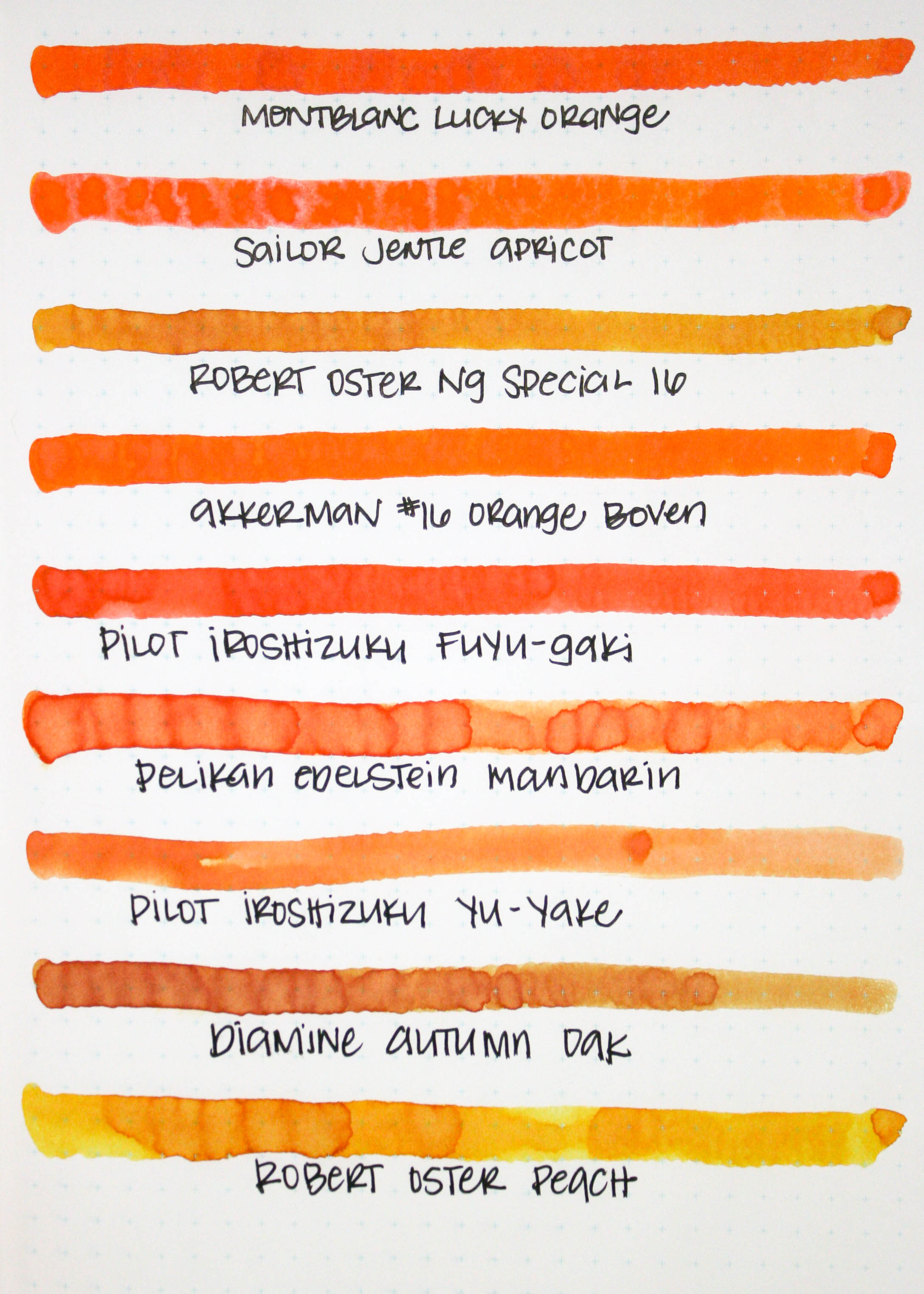 Similar colors...  - Lucky Orange is closest to Pilot Iroshizuku Fuyu-gaki. The Sailor Jentle Apricot is a little too light, and Akkerman's #16 Orange Boven is more of a true orange than red-orange.