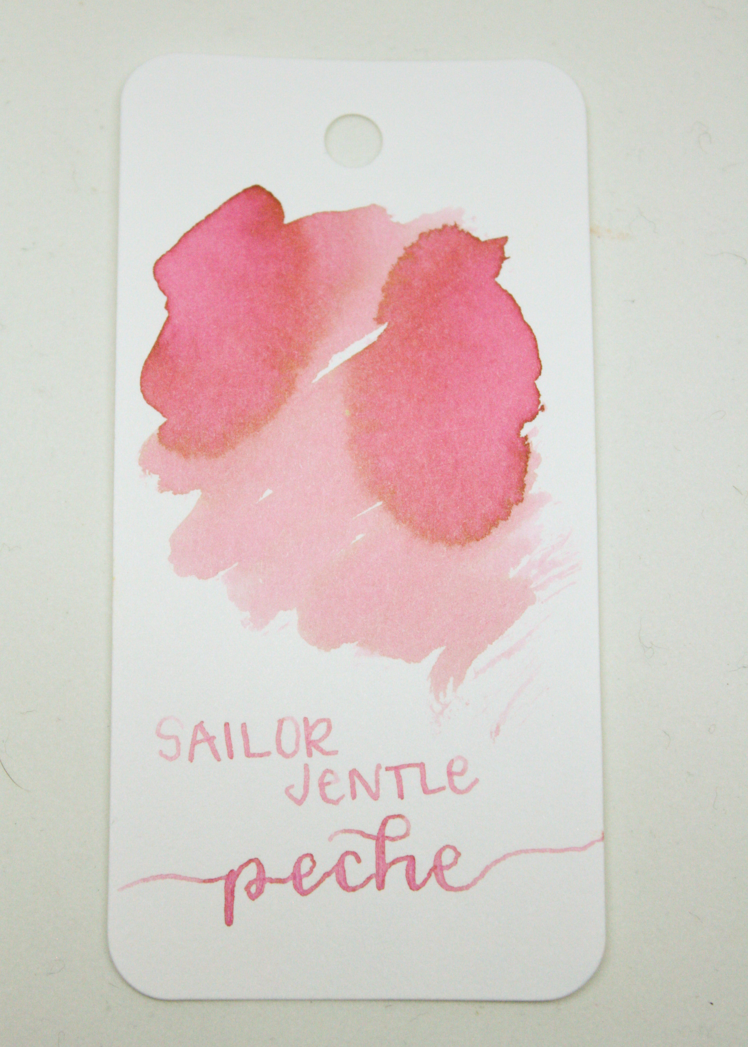 The color... - This ink is a very light pink, almost baby pink. When you pool the ink and let it dry, it almost looks gold around the edges. Seasonally, I think this would be a spring ink.