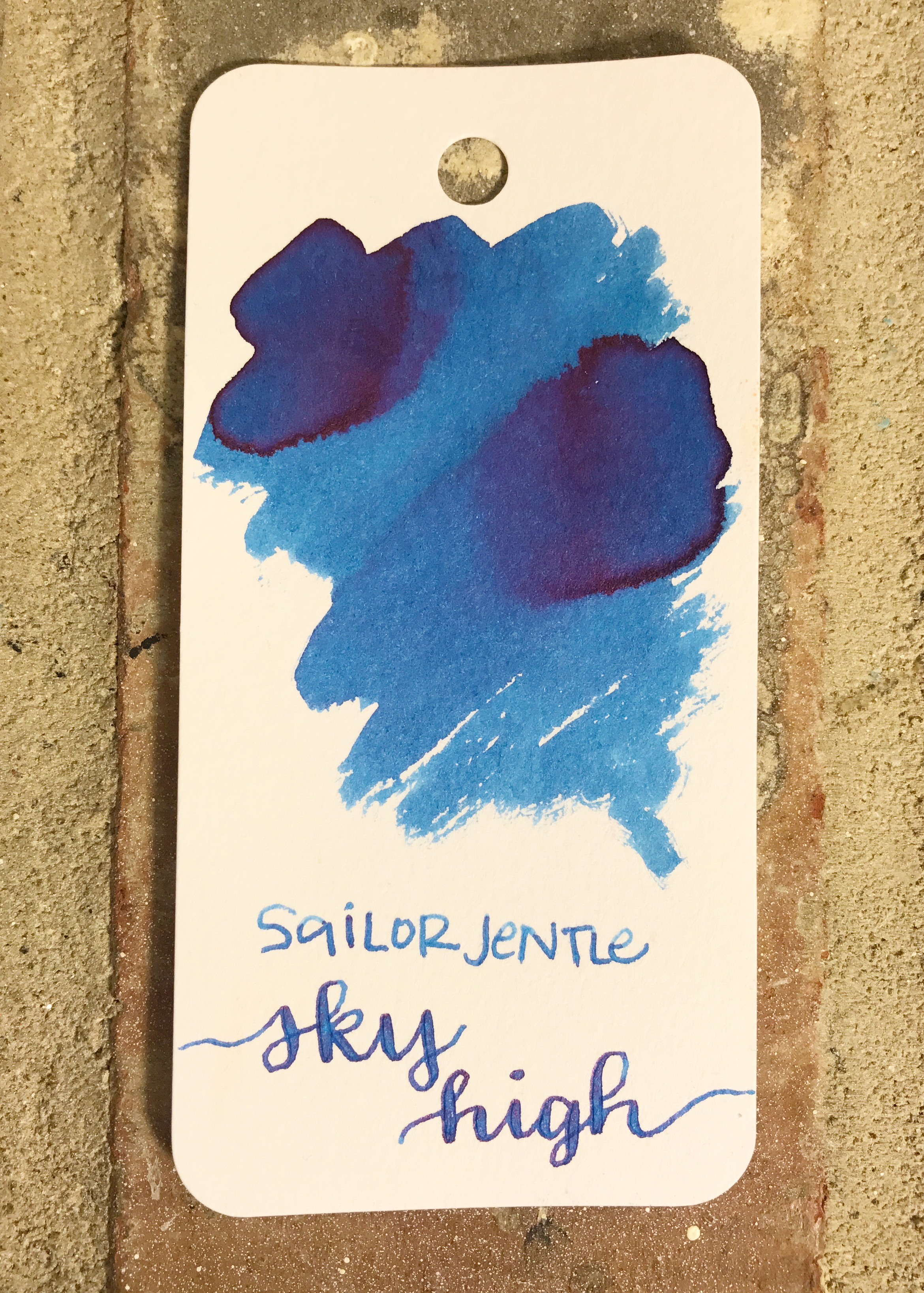 The color: - Sky High is a beautiful sky blue, with a pink sheen that shows on certain papers.