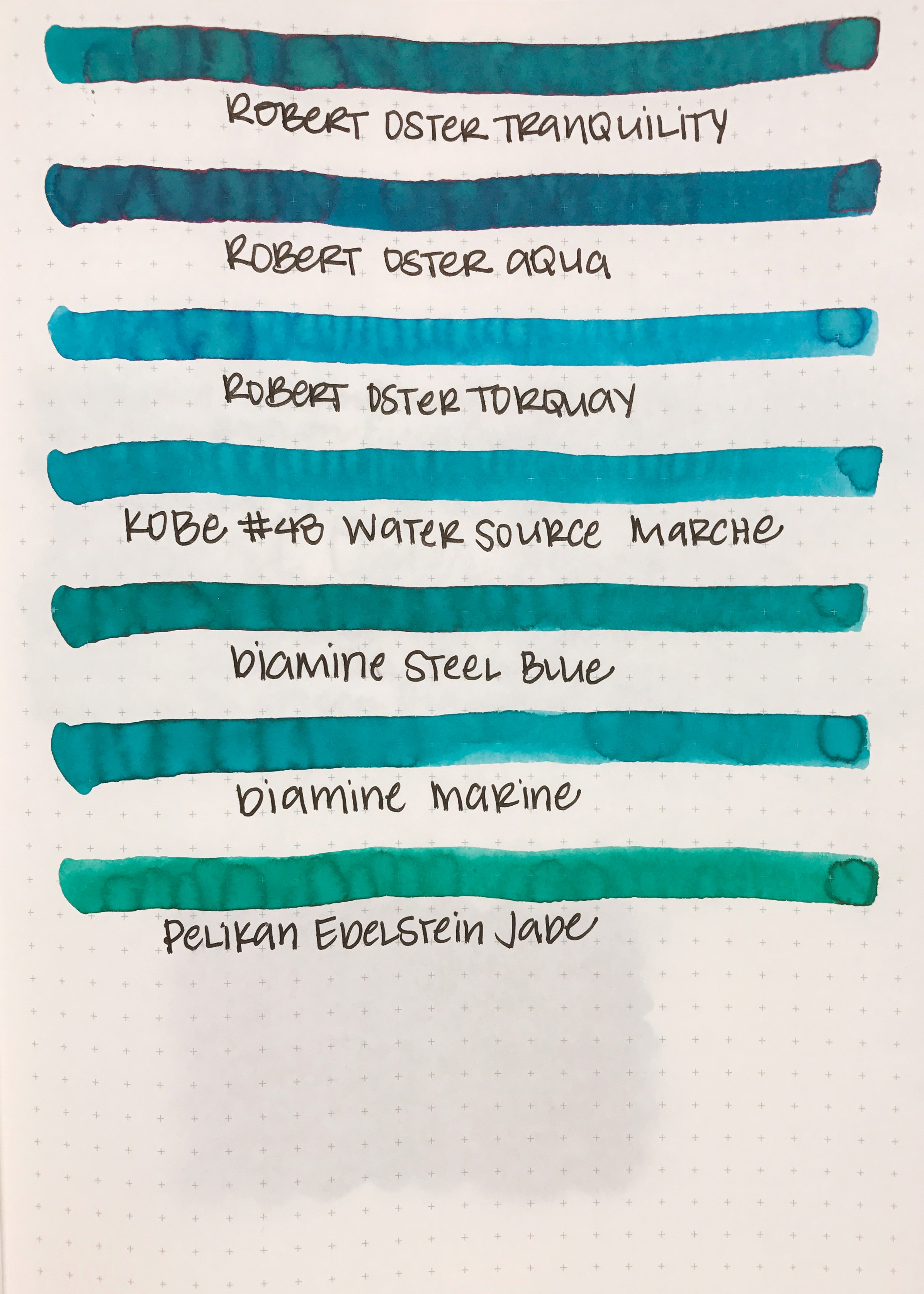 Similar inks... - The closest ink to Tranquility is Diamine Steel Blue.