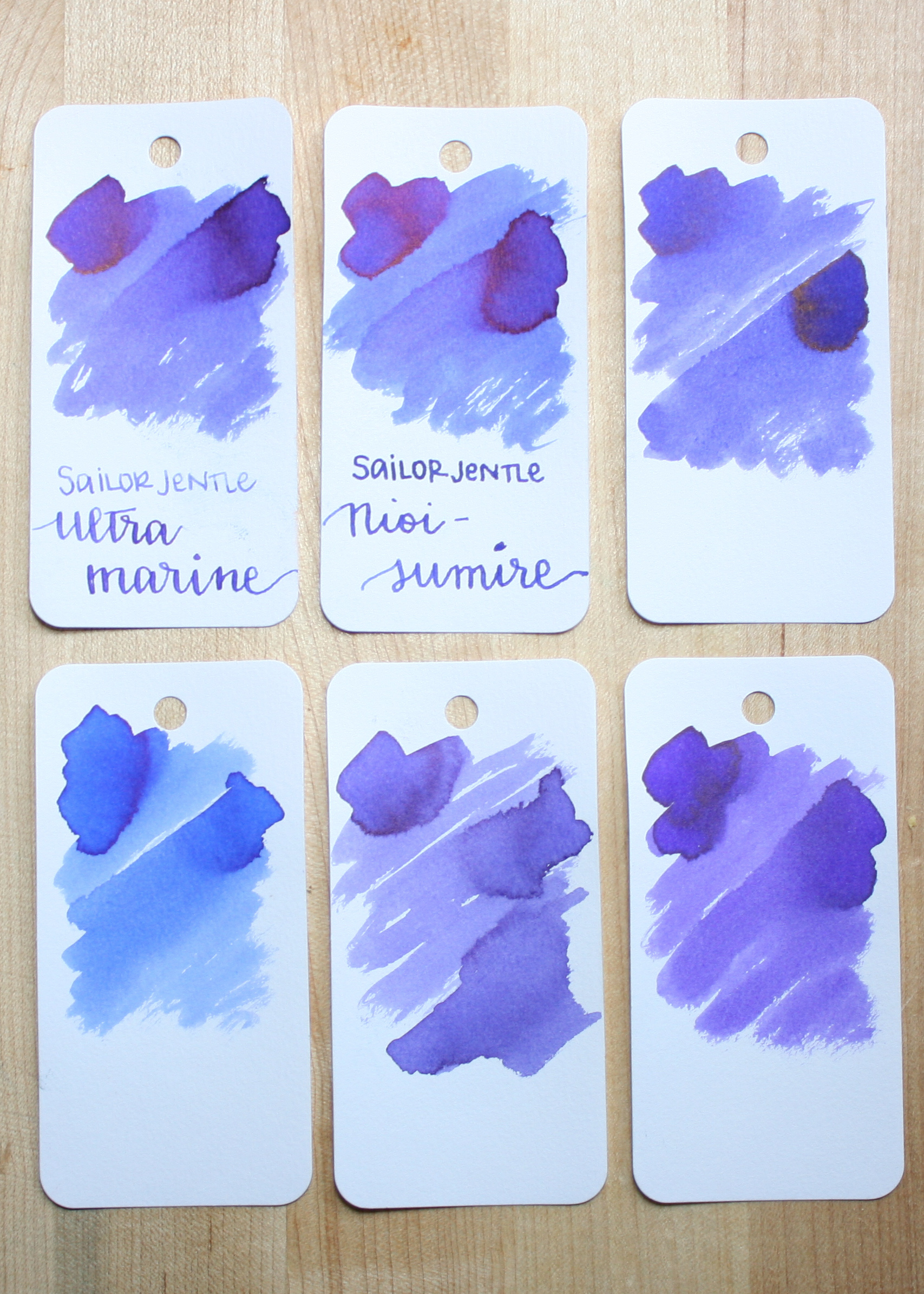 Similar inks: - On the top, left to right, are: Sailor Jentle Ultra Marine, Sailor Jentle Nioi-sumire, and Diamine Imperial Blue. Bottom row: Pilot Iroshizuku Ajisai, Sheaffer Purple, and Diamine Violet. Sailor Jentle Ultra Marine is the closest, but it's a little bit more red than Nioi-sumire.