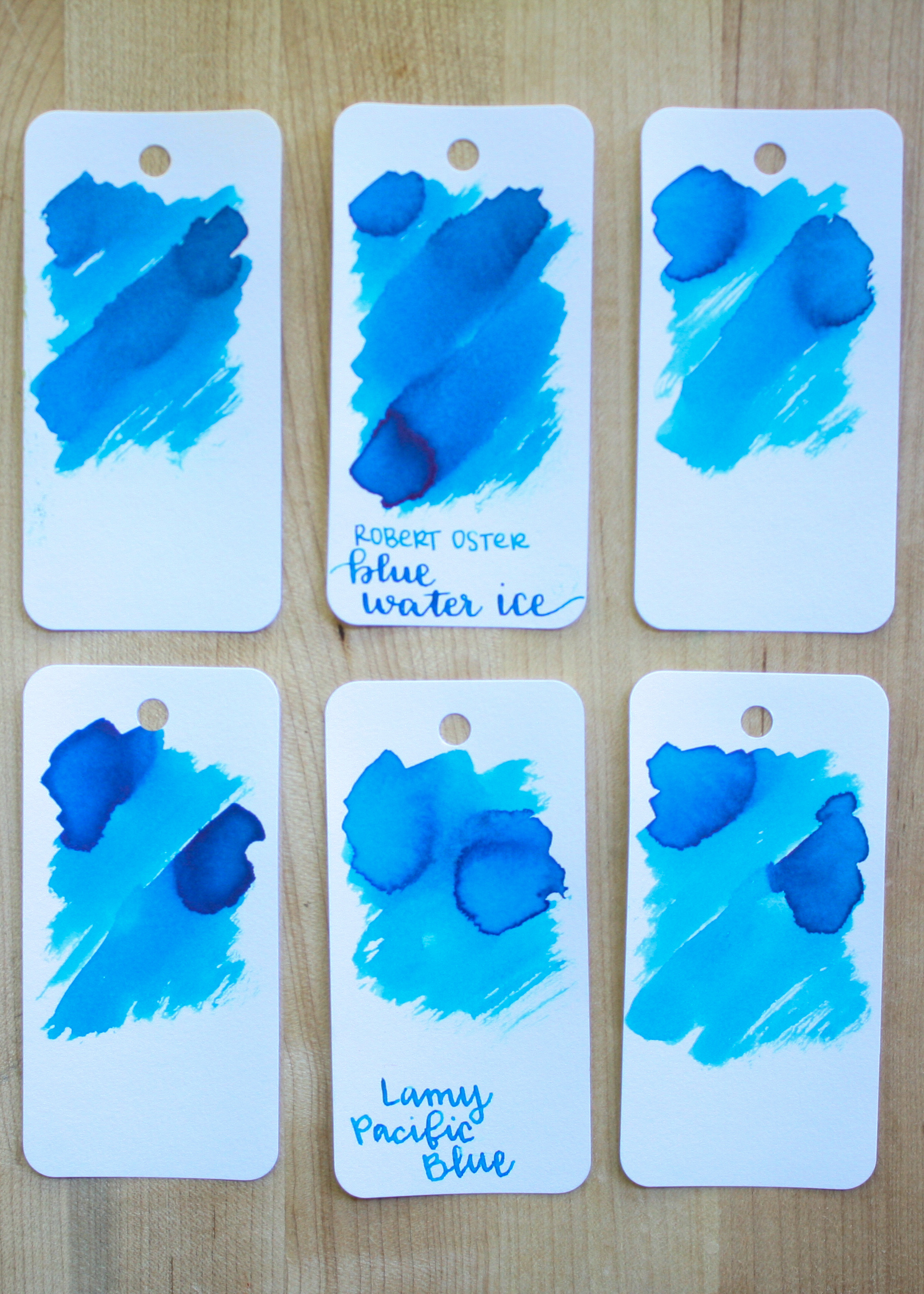 Similar inks: - Top row, left to right: Robert Oster Bondi Blue, Robert Oster Blue Water Ice, and Robert Oster Australian Sky Blue. Bottom row: Noodler's Navajo Turquoise, Lamy Pacific Blue, and Diamine Havasu Turquoise.