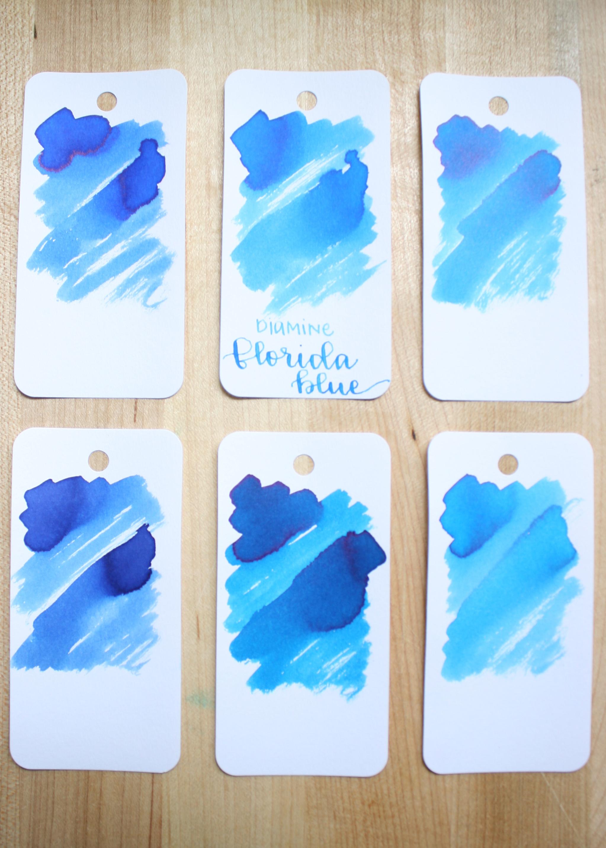Similar inks: - Top row: left to right, Diamine Royal Blue, Diamine Florida Blue, and Pilot Iroshizuku Kon-peki. Bottom row: Diamine Kensington Blue, Diamine Asa Blue, and Pilot Iroshizuku Ama-iro.