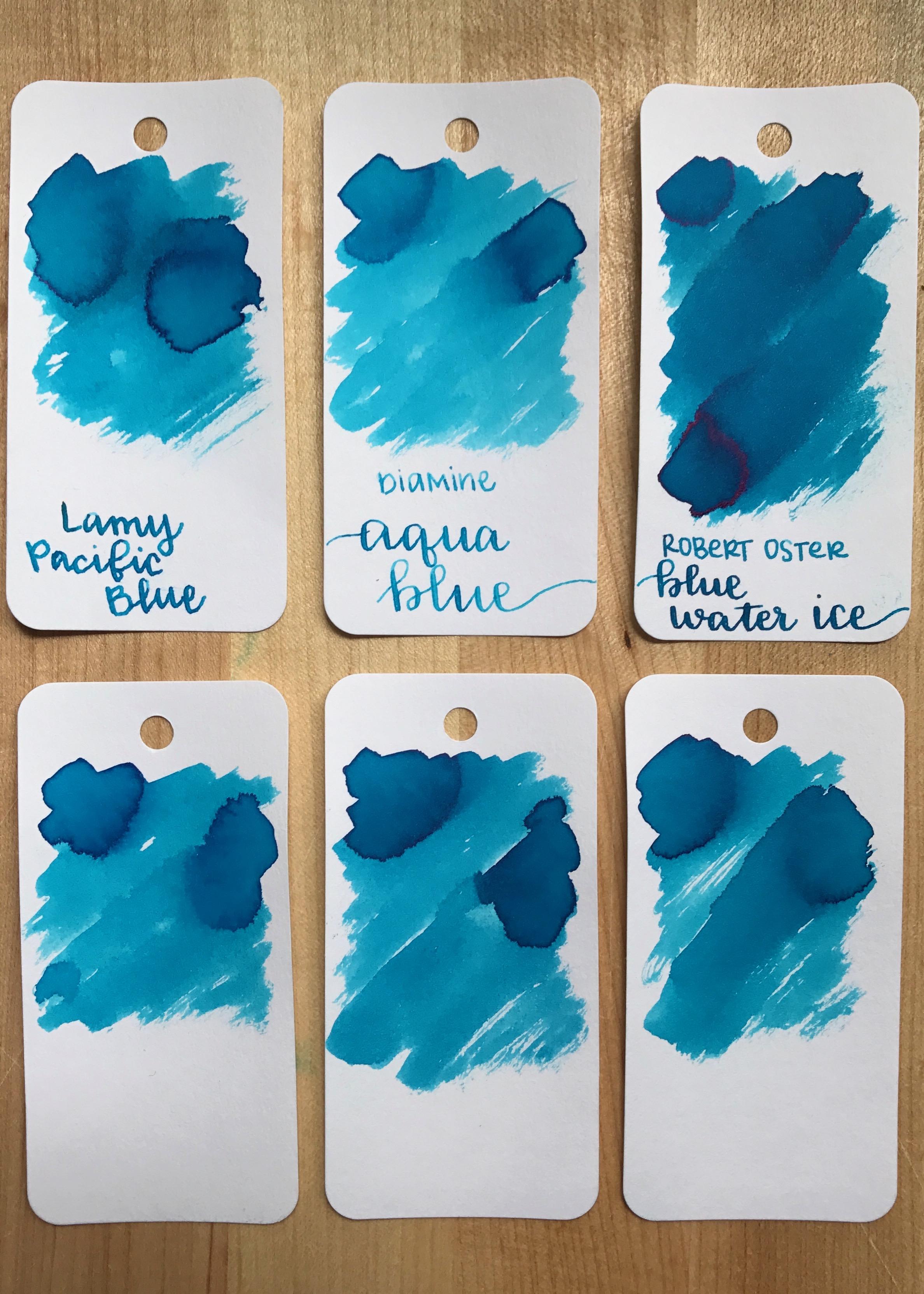 Similar inks: - Top row:left to right, Lamy Pacific Blue, Diamine Aqua Blue, and Robert Oster Blue Water Ice. Bottom row: Diamine Turquoise, Diamine Havasu Turquoise, and Robert Oster Australian Sky Blue.