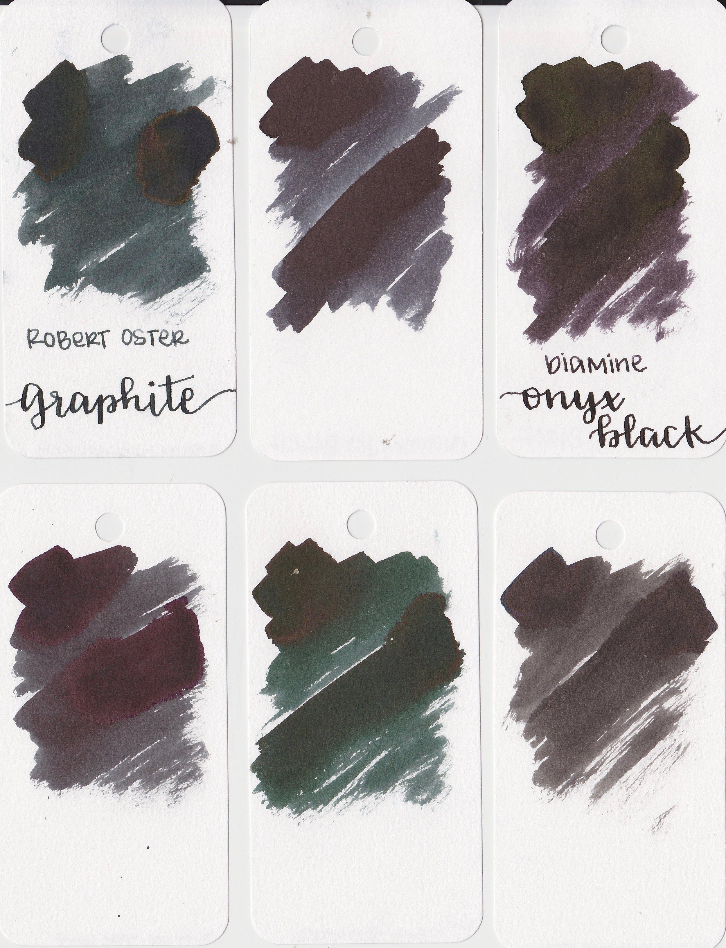 Similar inks: - Top row: left to right, Robert Oster Graphite, Diamine Jet Black, and Diamine Onyx Black. Bottom row: Pilot Iroshizuku Take-sumi, Robert Oster Grun-Schwarz, and Pelikan Edelstein Onyx.