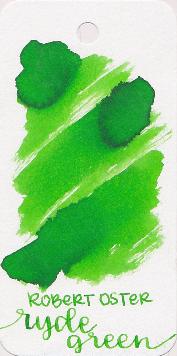 The color... - Ryde Green is a bright lime green. There is shading, but no sheen.