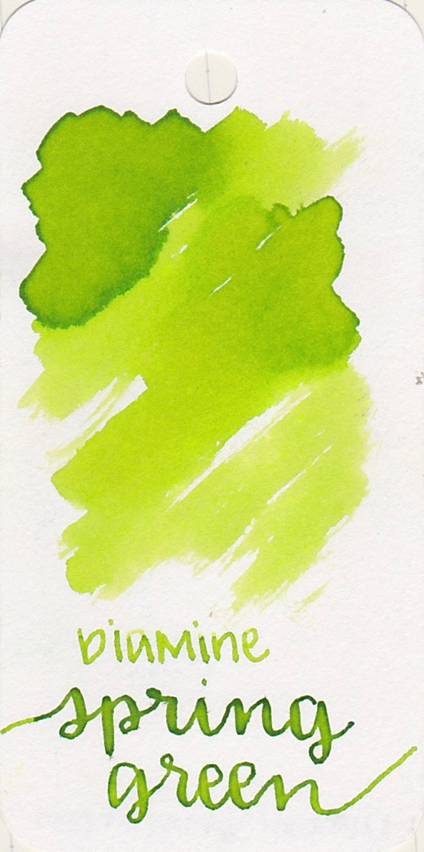 The color... - Spring Green is a bright Lime Green. There is some shading, and no sheen.
