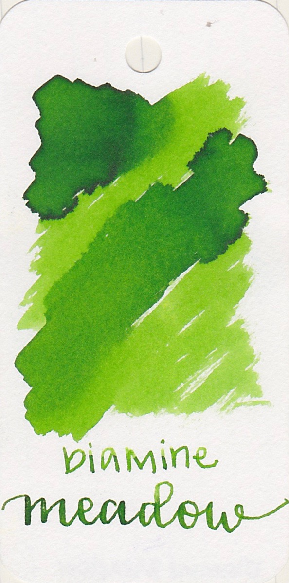 The color... - Meadow is one of the lighter Diamine greens. There is some shading and no sheen.