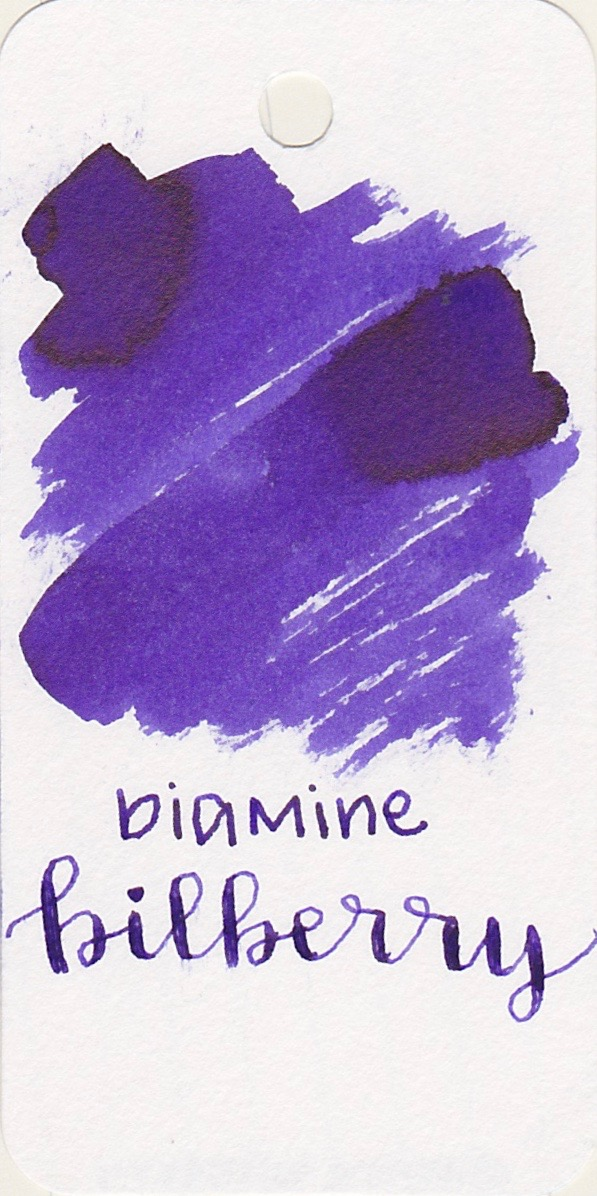 Diamine Bilberry - A dark purple with no shading, but some amazing sheen. Bilberry is my favorite ink from this palette.