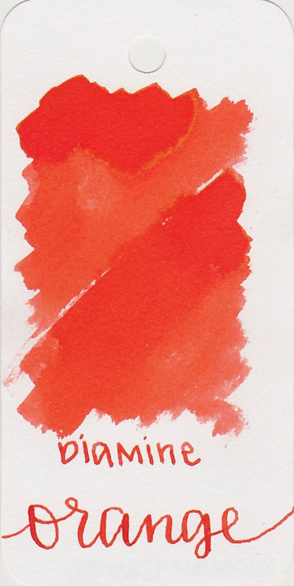 The color... - Orange is a medium orange, but leans a little bit more toward red orange rather than classic orange. Seasonally, I would use this ink in the summer.
