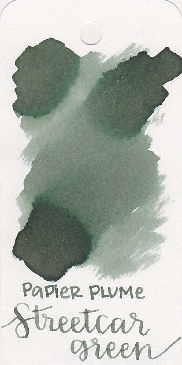 The color... - Streetcar Green is more of a greenish-grey than a green. There is a tiny bit of shading, and no sheen.