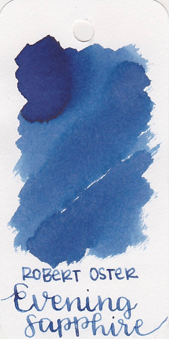The color... - Evening Sapphire is a beautiful blue with dusty pink sheen and medium shading. Seasonally, I would use this ink in the winter.